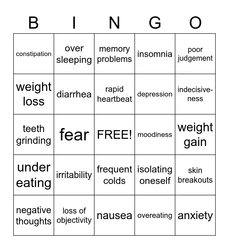 Health Related Bingo - Signs of Stress Bingo Card