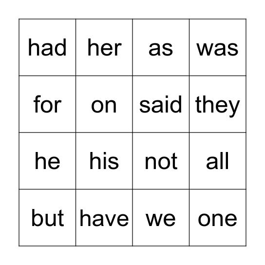 RED WORDS Bingo Card