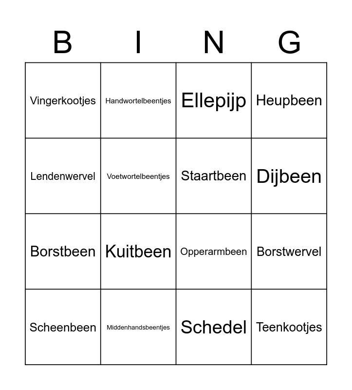 Human Bones Bingo Card