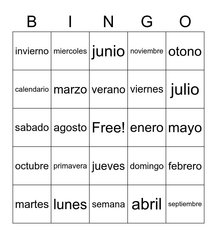 Spanish Calendario Bingo Card