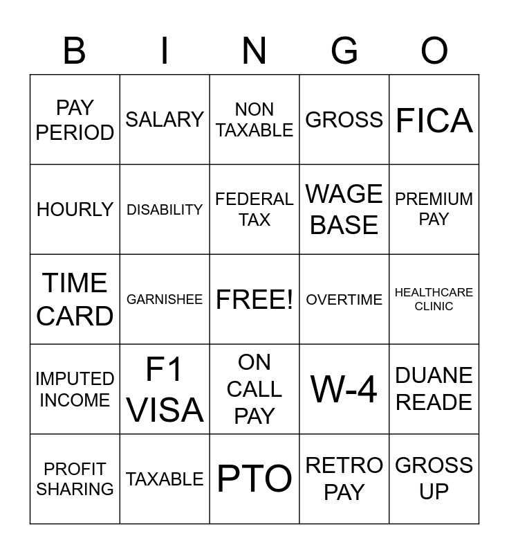 National Payroll Week, NATIONAL PAYROLL WEEK BINGO, NATIONAL PAYROLL WEEK Bingo Card