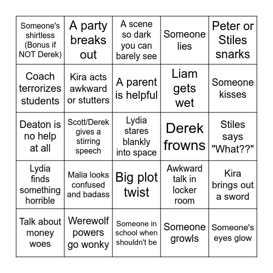 Teen Wolf Bingo Card