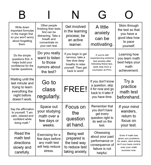 Overcoming Math Anxiety Bingo Card