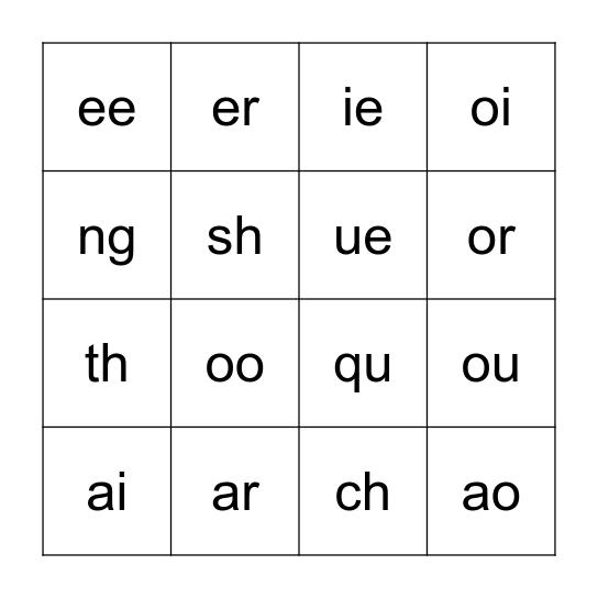 Digraph Bingo Card