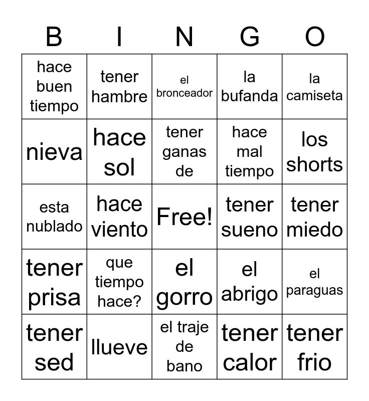 Spanish Phrases Bingo Card