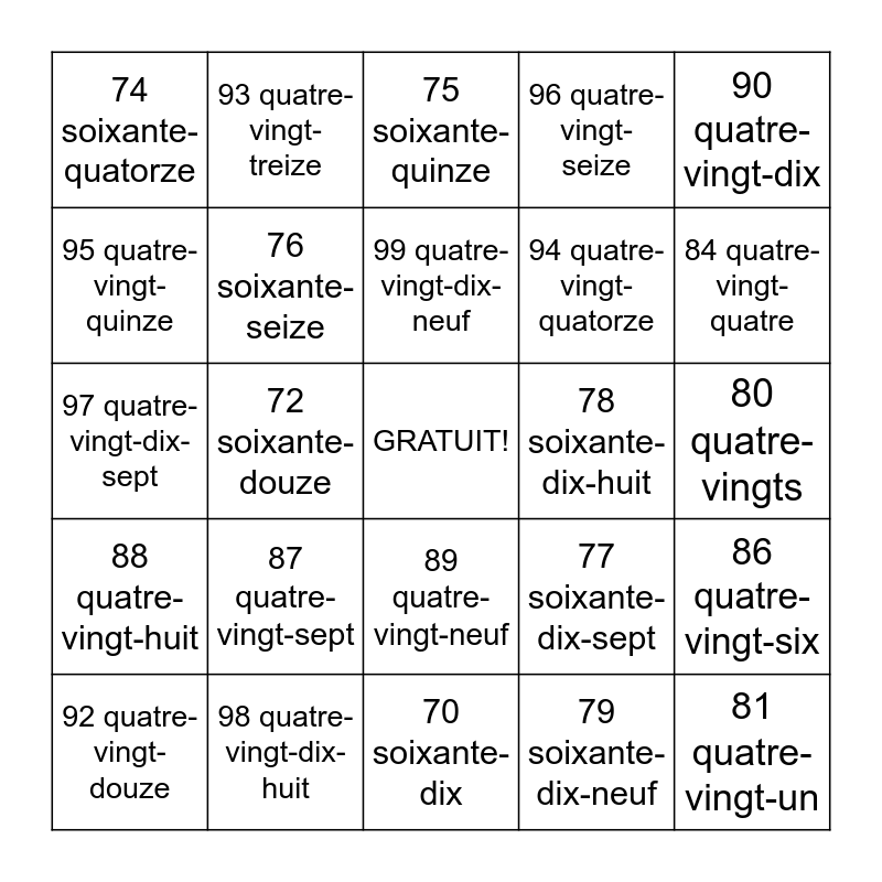 French Numbers Bingo Card