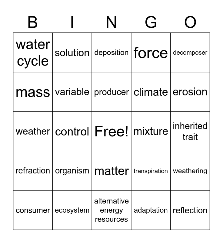 5th grade STAAR Science Bingo Card