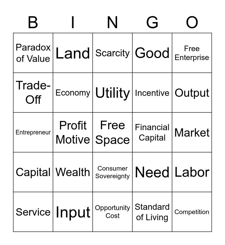 Economic Bingo  Bingo Card