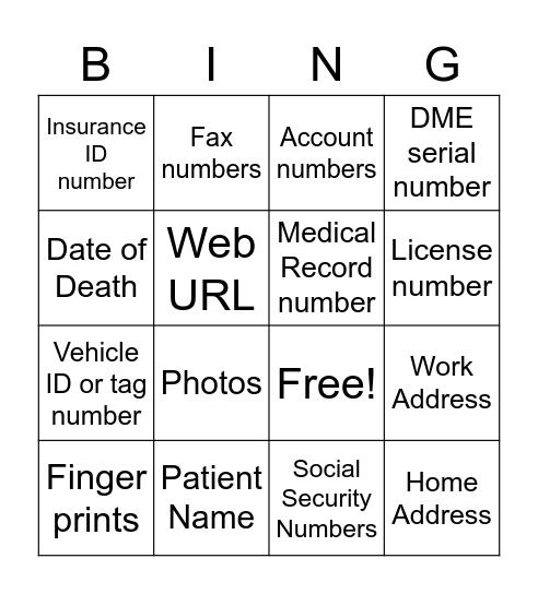 18 Components of PHI Bingo Card
