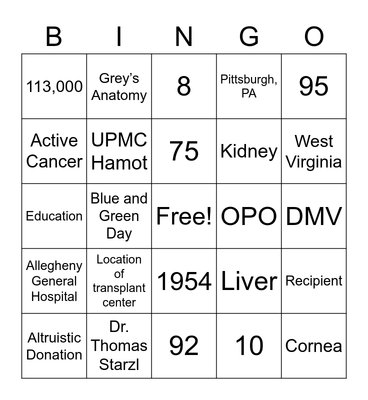 Organ Donation Bingo Card
