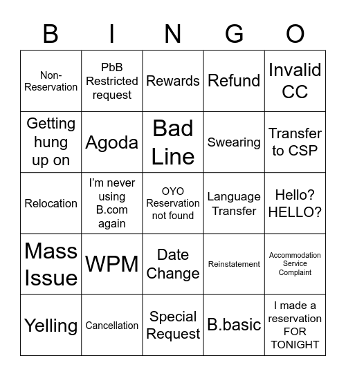 Booking Bingo Card