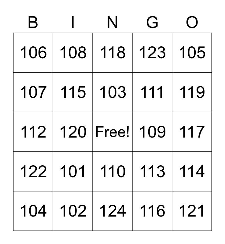 Numbers Bingo Card
