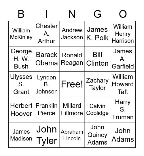 President Bingo Card