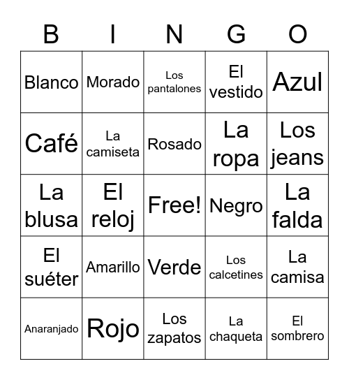 Spanish Words Bingo Card