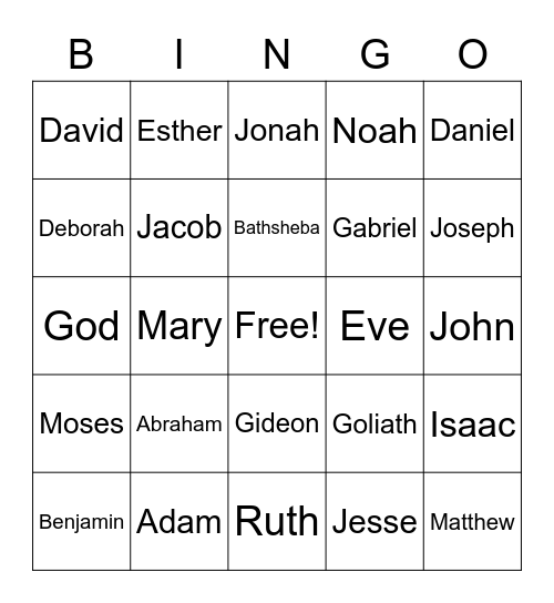 Bible Characters Bingo Card