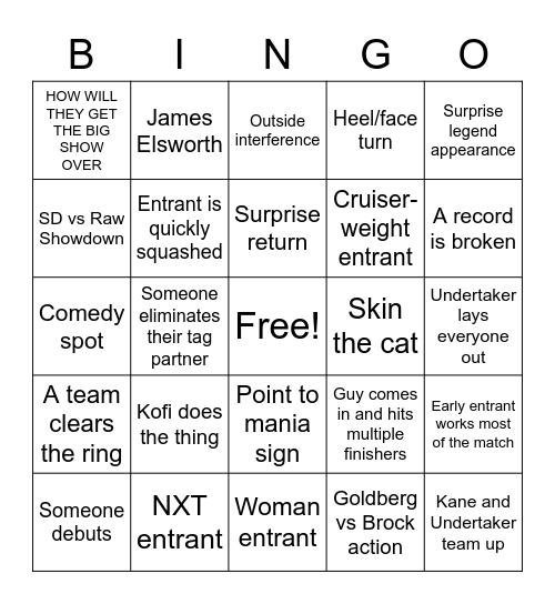 Wrestle mania Bingo Card