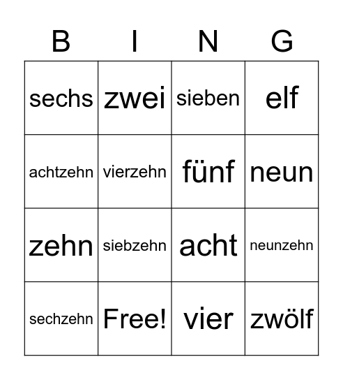 German Numbers Bingo Card