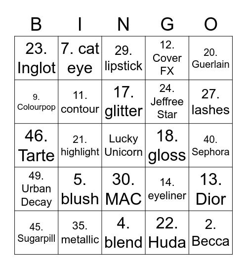 Makeup Bingo Card
