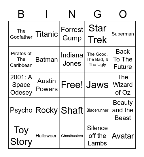 Total-Quiz.com Presents Radio Bingo: Movie Themes Bingo Card