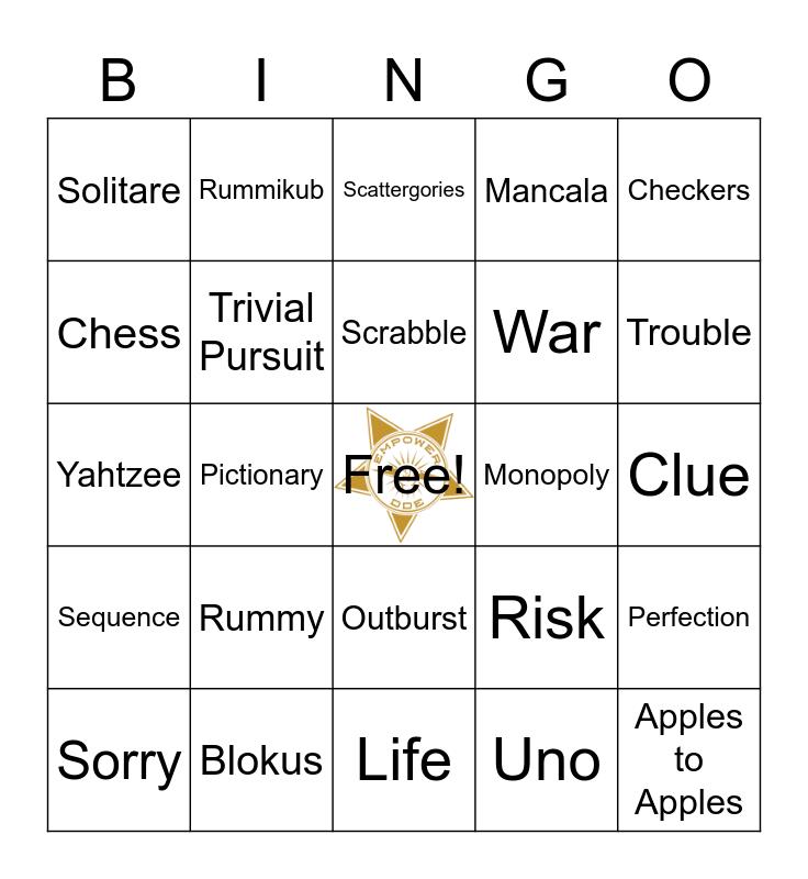 Card and Board Game Club Bingo Card
