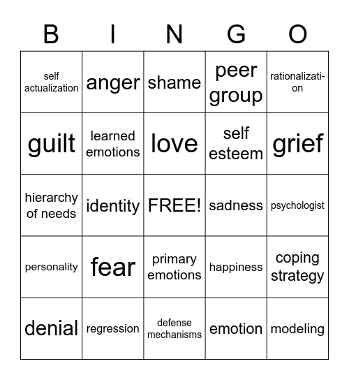 Self Esteem, Emotions Bingo Card