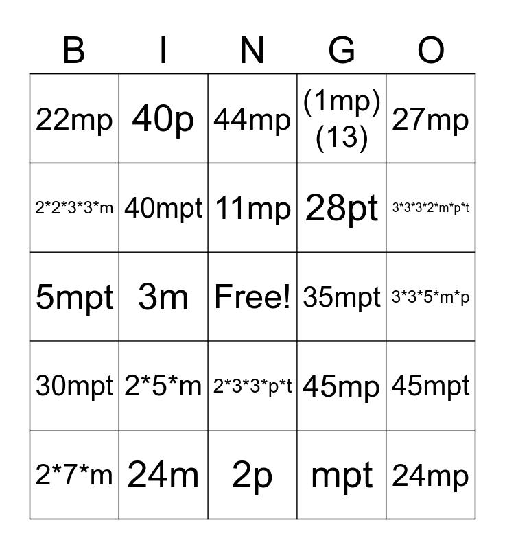 Multiplication Expressions Bingo Card