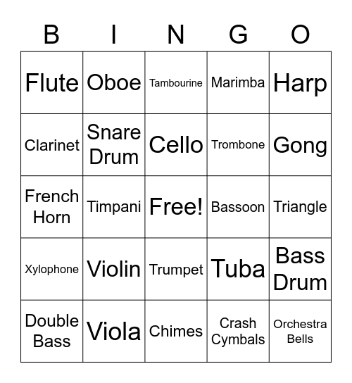 Instruments of the Orchestra, Instrument Bingo Card