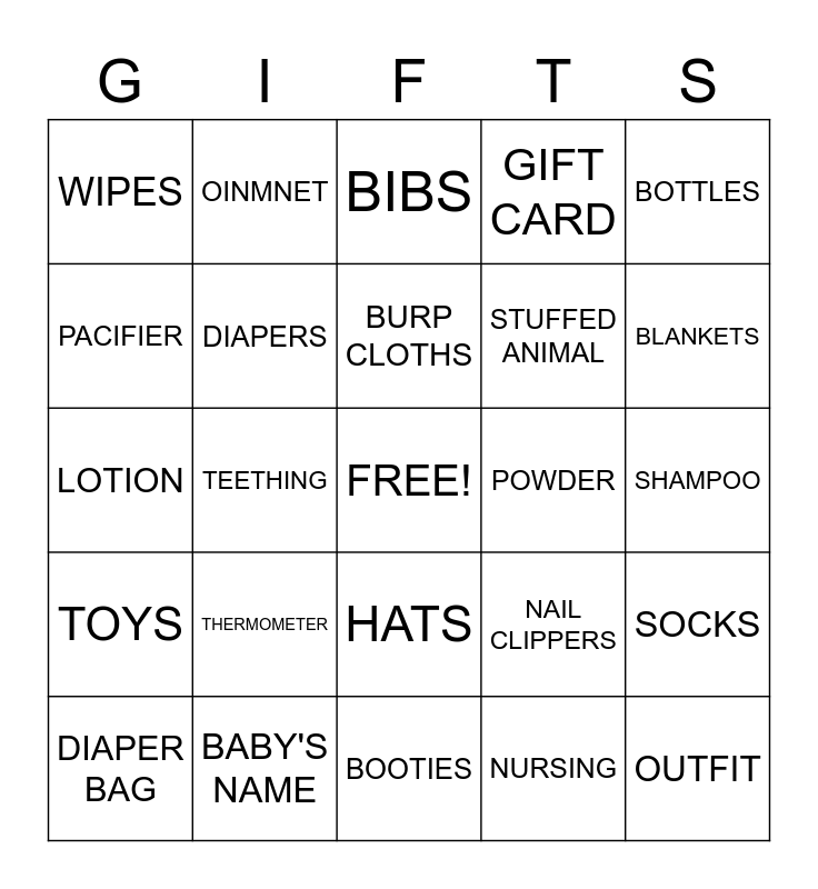 Kimberly's Baby Bingo Card