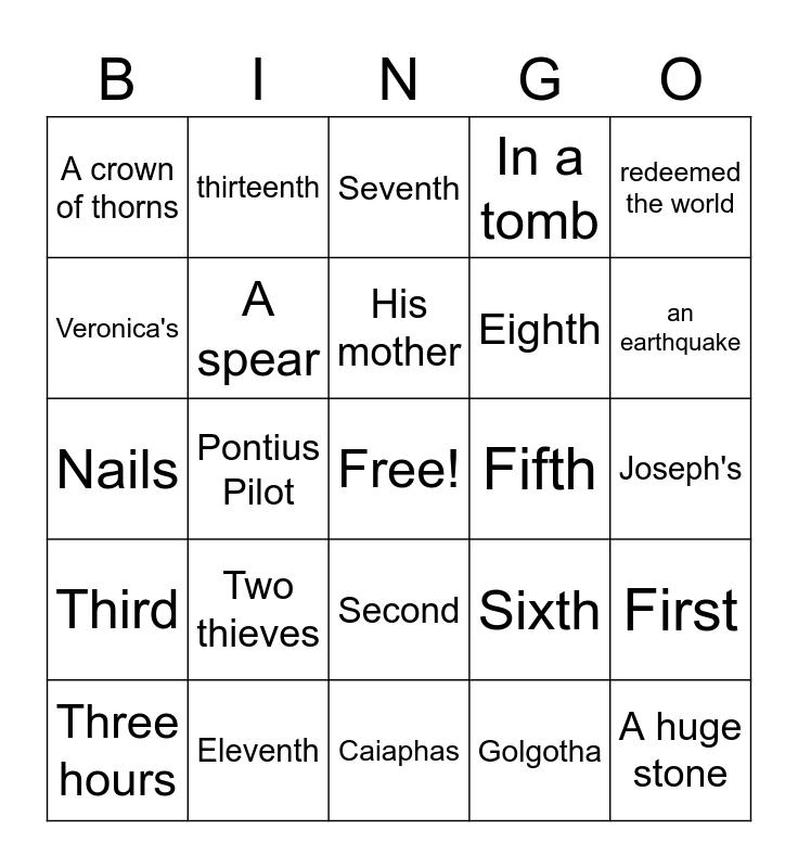 Stations of the Cross Bingo Card