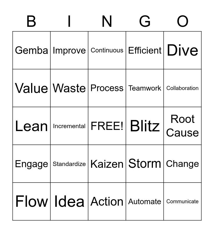 Words Bingo Card