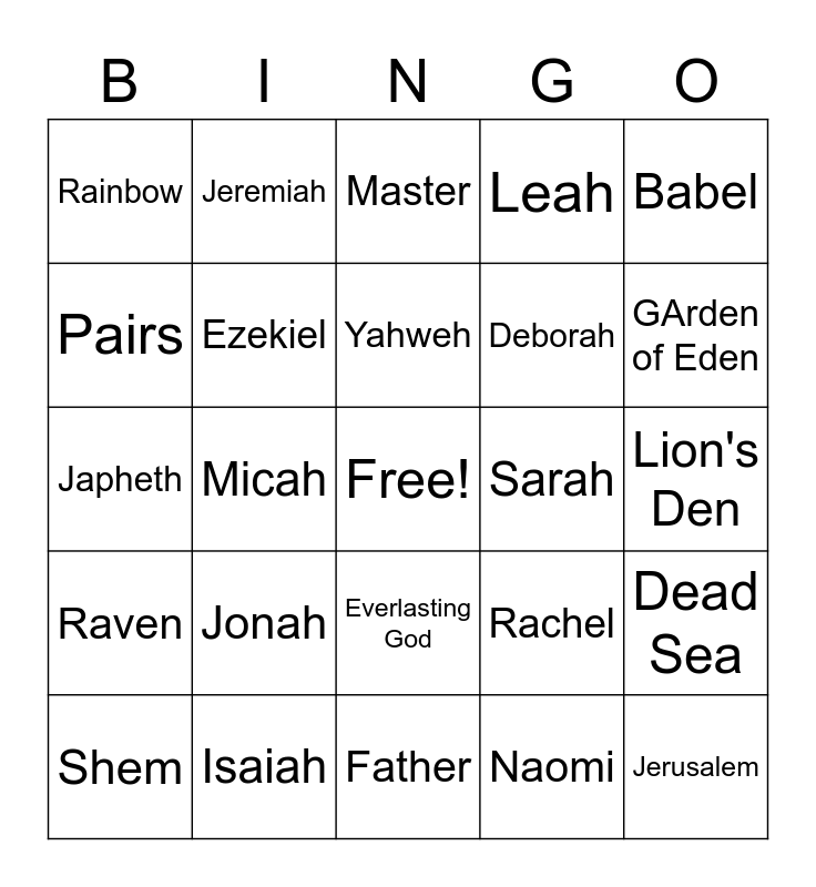 Old Testament Bible Bingo Card