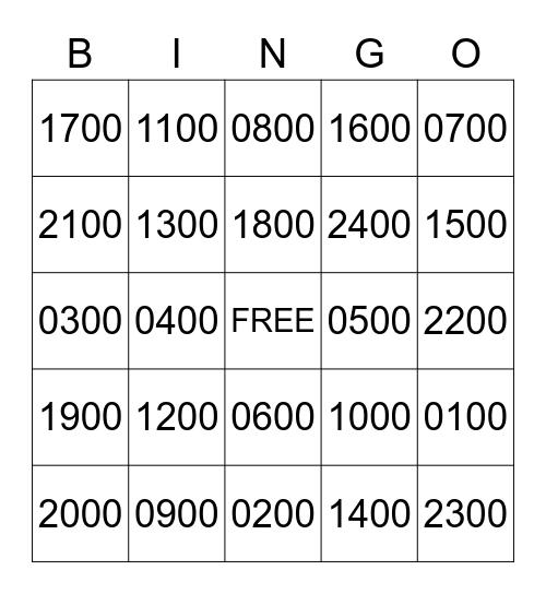 Military Time  Bingo Card
