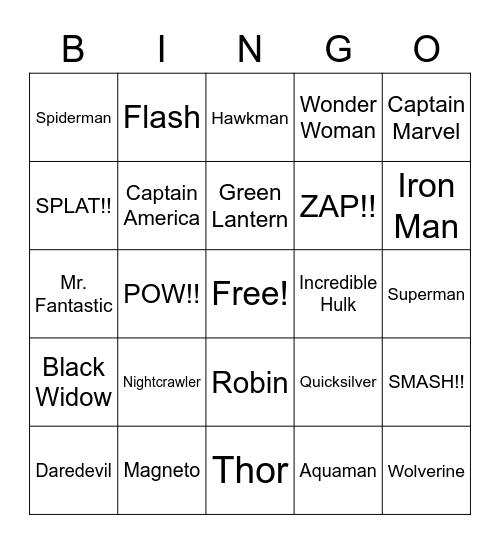 Super Hero , Super Hero Bingo Card