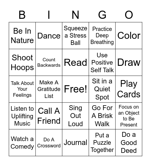 Coping Skills , Coping Skills Bingo Card
