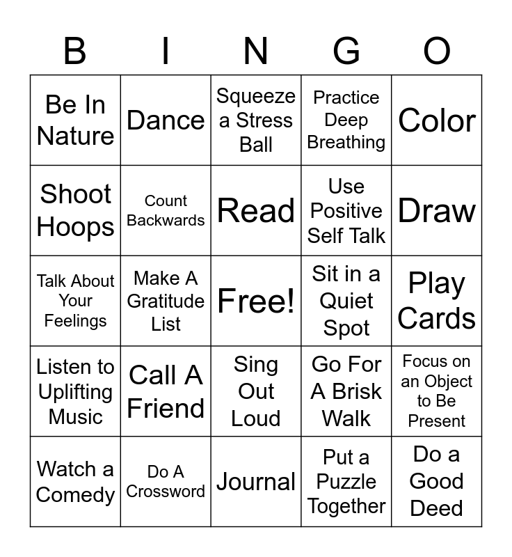 Coping Skills , Coping Skills Bingo Card