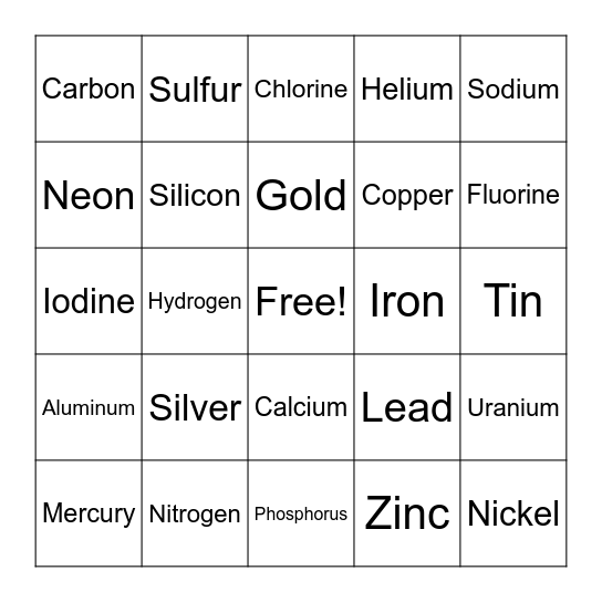 Element BINGO Card