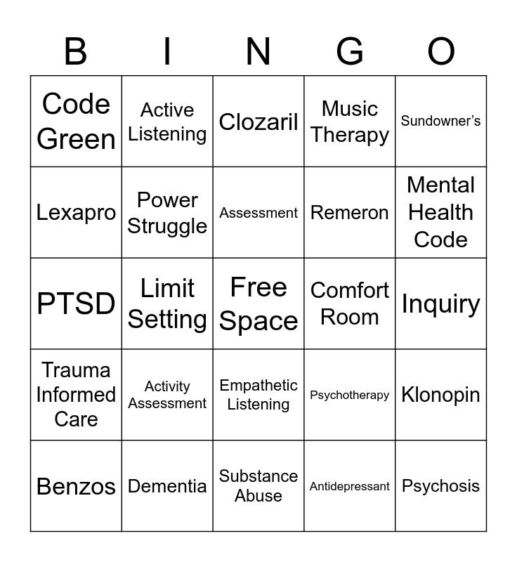 Behavioral Health Bingo Card