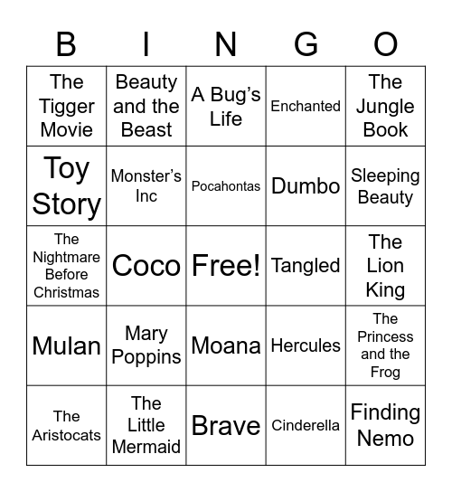 Disney & Pixar Music Bingo, Disney Movie Bingo Card