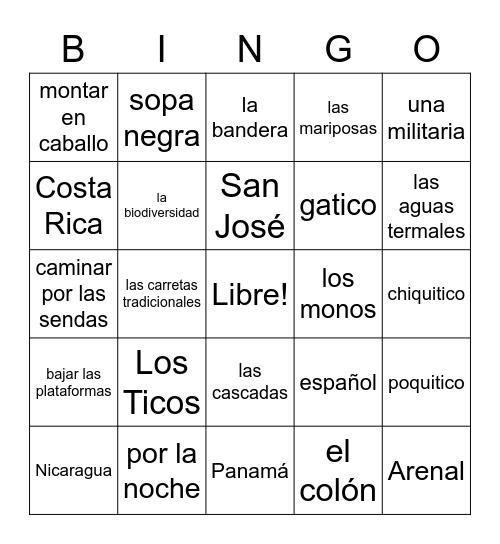Costa Rica Bingo Card