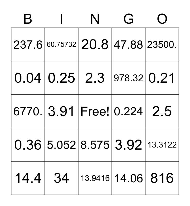 Math bingo, Decimal Bingo Card