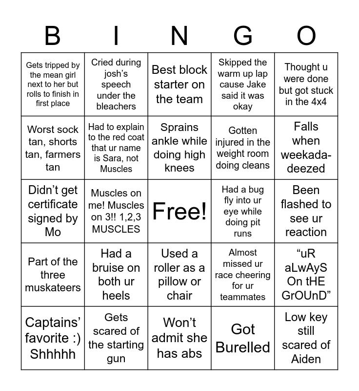 Sprints Bingo: Muscles Version Bingo Card