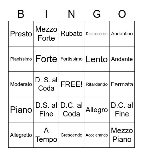 Tempo Terms, Dynamics and Repeats Bingo Card