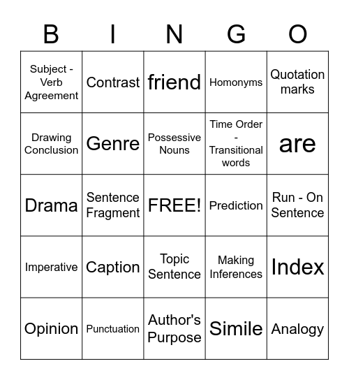 Language Arts Bingo Card