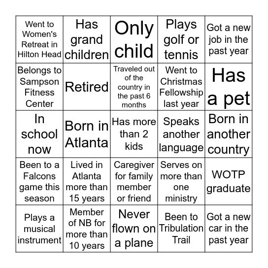 Getting To Know Our Greeters Bingo Card