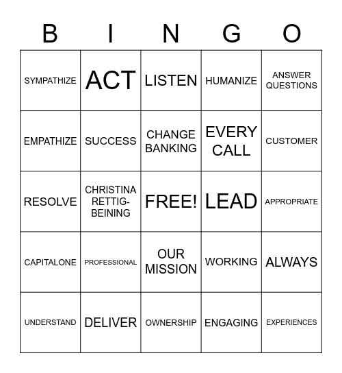 LEAD B-I-N-G-O Bingo Card