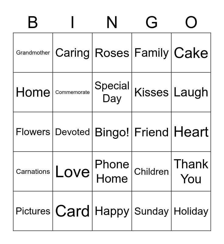 Mother's Day Bingo Card