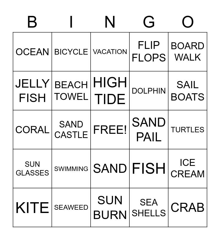 BEACH Bingo Card