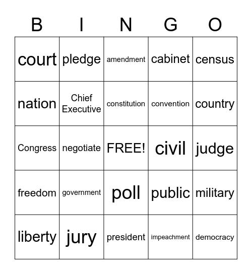 Constitution Day Bingo Card