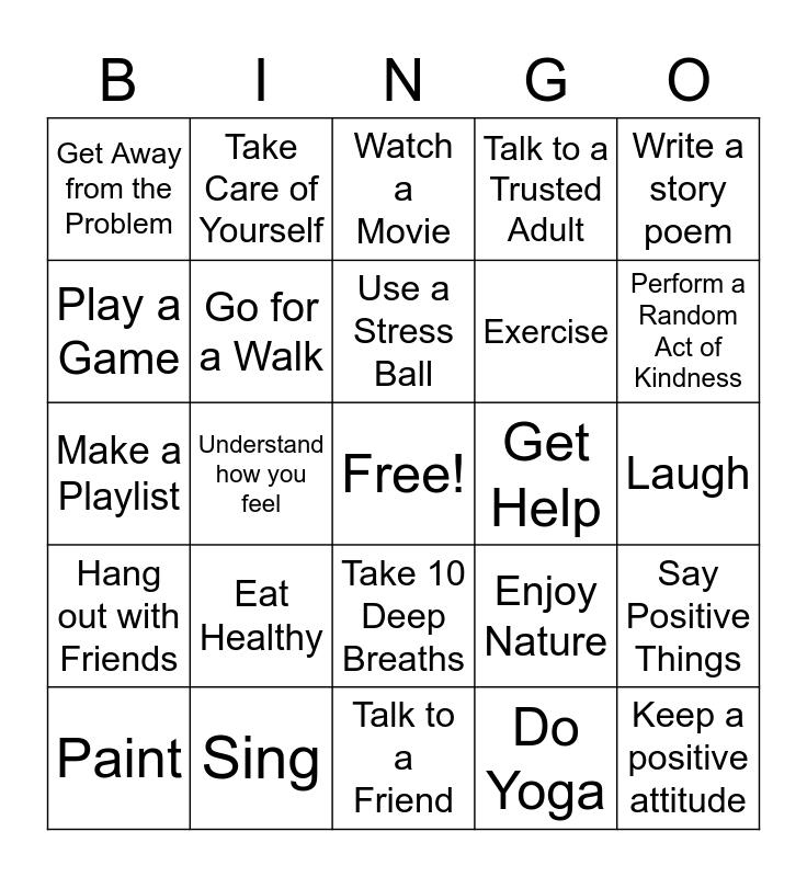 Coping Skills Bingo  Bingo Card