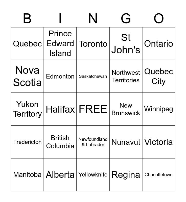 Canadian Provinces,Territories & Capitals Bingo Card